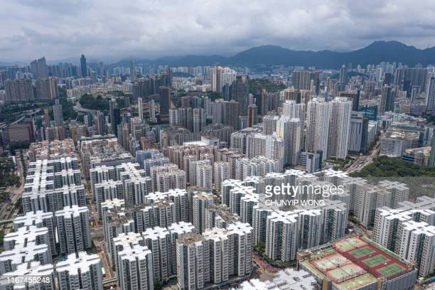 private housing of hong kong from drone view - real estate developer stock pictures, royalty-free photos & images