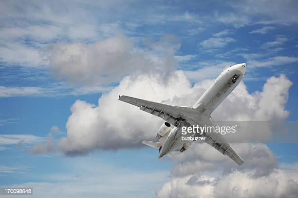 Private Jet Airplane Flying in the Sky