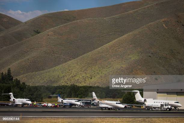 Private jets sit parked at Friedman Memorial Airport ahead of the annual Allen Company Sun Valley Conference July 10 2018 in Hailey Idaho Every July...