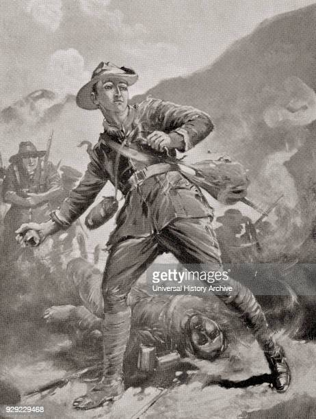 Private Keysor risking his life to pick up Turkish grenades as they were thrown into the trenches and throw them back out at the Battle of Lone Pine...