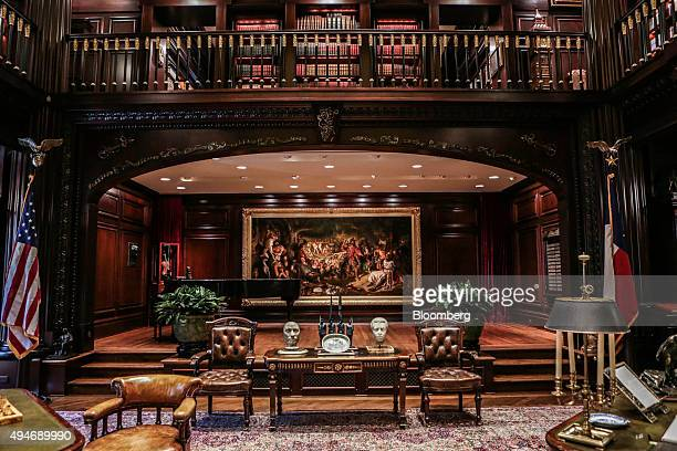 A private library is seen inside the Highland Park residence of Harlan Crow chairman and chief executive officer of Crow Holdings LLC not pictured in...