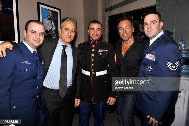 """Private Officer Joe Devito, Jon Stewart, Sergeant Ian Motley, Bruce Springsteen and Sergeant Derek Bishop backstage at """"Stand Up for Heroes"""" at the..."""