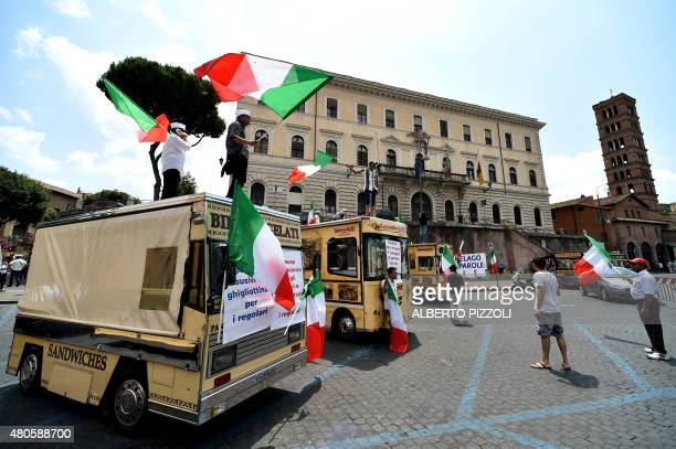 Private operators of Rome's trucks bar gathered in protest for the second consecutive day on July 13 2015 The mayor Ignazio Marino with a decree...
