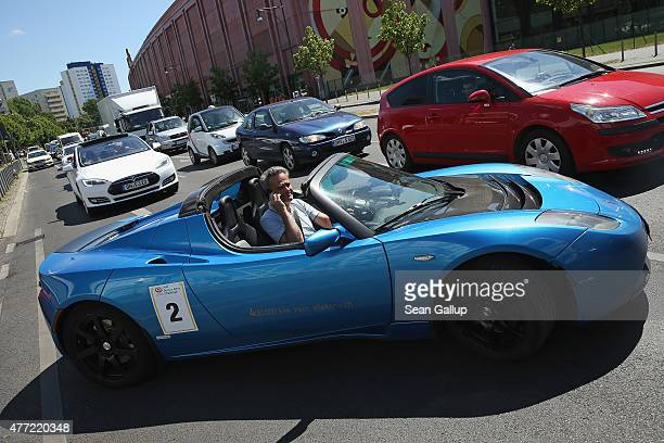Private owners of Tesla electric cars converge at the governmentsponsored electromobility conference on June 15 2015 in Berlin Germany Top...