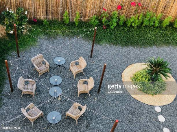 private patio setup in the backyard - gravel stock pictures, royalty-free photos & images