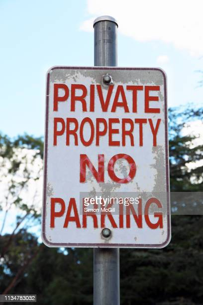 'Private property. No parking' sign
