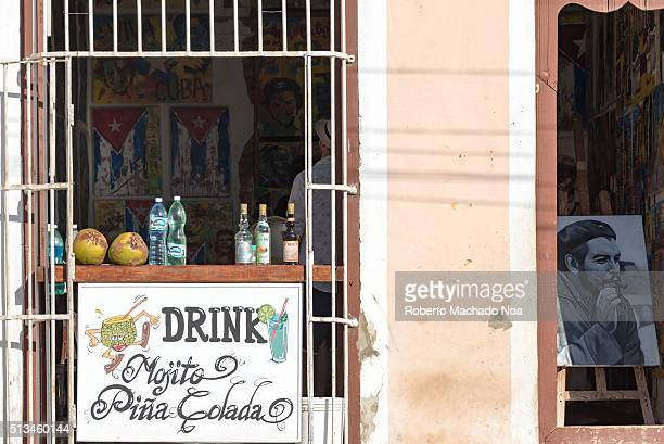 Private restaurant or paladar selling mojito and pina colada two popular cocktail drink with tourists visiting the colonial village