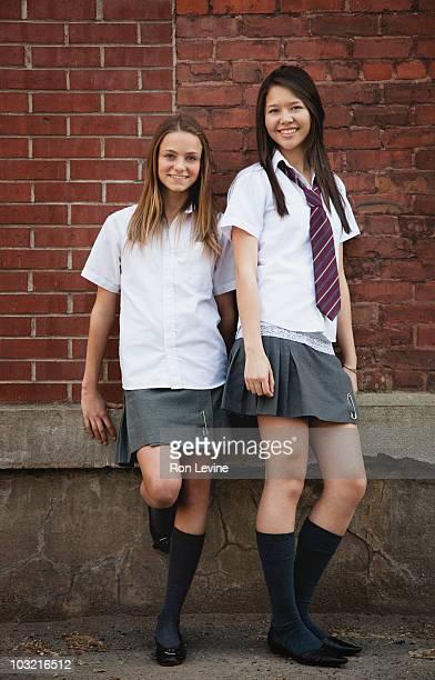 Private school girls, portrait