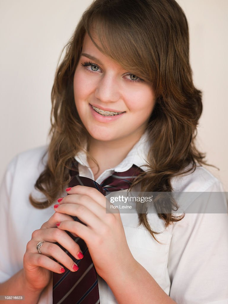 Private School Teen Girl With Braces High-Res Stock Photo