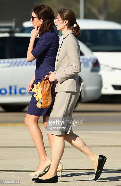 Private Secretary to the Duchess of Cambridge Rebecca Deacon, and Nanny Maria Borrallo arrive at Sydney Airport on RAAF B737 on April 16, 2014 in...