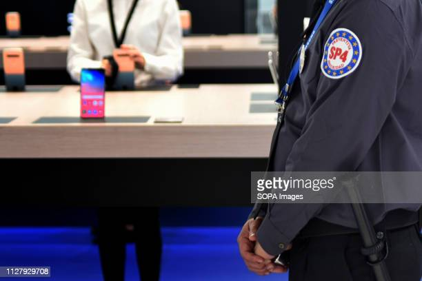L´HOSPITALET CATALONIA SPAIN A private security agent of the company SP4 guarantees the security of the Samsung stand at the Mobile World Congress...