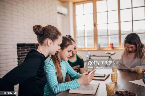 privatlehrer und teenager-mädchen - schulheft stock-fotos und bilder
