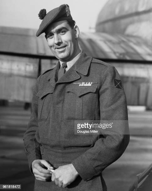 Private William SpeakmanPitt known as Bill Speakman of the British Army arrives back at Lyneham in Wiltshire from Korea wearing the Victoria Cross...