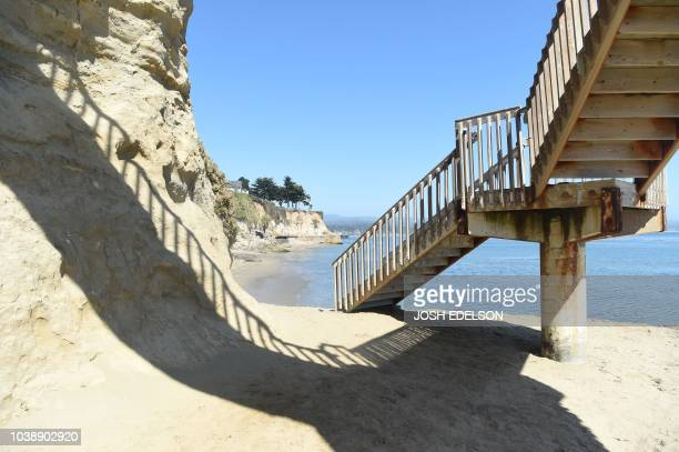 Privates Beach is seen in the Opal Cliffs area of Santa Cruz California on September 19 2018 Local officials charge a $100 annual fee for anyone...