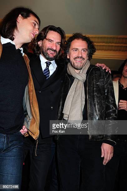 Prix de Flore 2008 awarded writer 2008 Tristan Garcia TV Host/writer Frederic Beigbeder and Prix de Flore 2009 awarded writer Simon Liberati attend...