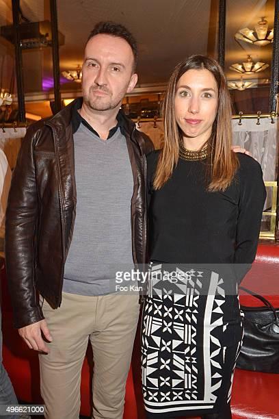 "Prix de Flore 2015 winner Jean-Noel Orengo and Chloe Deschamps from editions Grasset attend the ""Prix De Flore 2015 : "" Literary Prize Winner..."