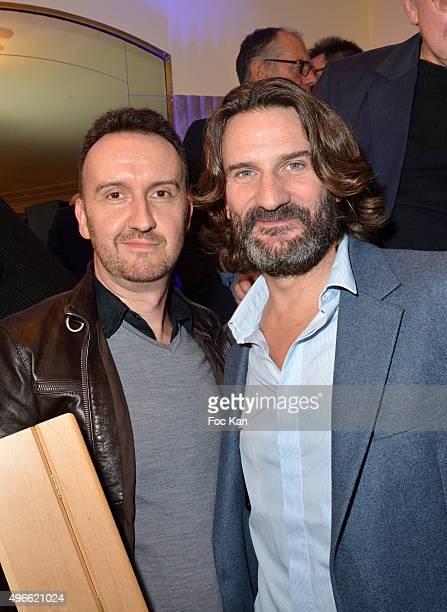 "Prix de Flore 2015 winner Jean-Noel Orengo and Frederic Beigbeder attend the ""Prix De Flore 2015 : "" Literary Prize Winner Announcement at Cafe de..."
