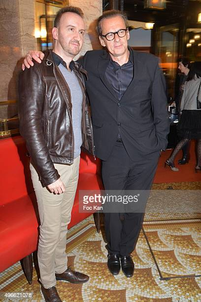 "Prix de Flore 2015 winner Jean-Noel Orengo and Olivier Nora from editions Grasset attend the ""Prix De Flore 2015 : "" Literary Prize Winner..."