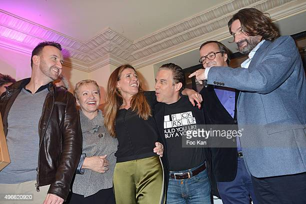 Prix de Flore 2015 winner Jean-Noel Orengo , Colette Siljegovic owner of Cafe de Flore, her daughter Carole Chretiennot, Philippe Vandel, Louis...