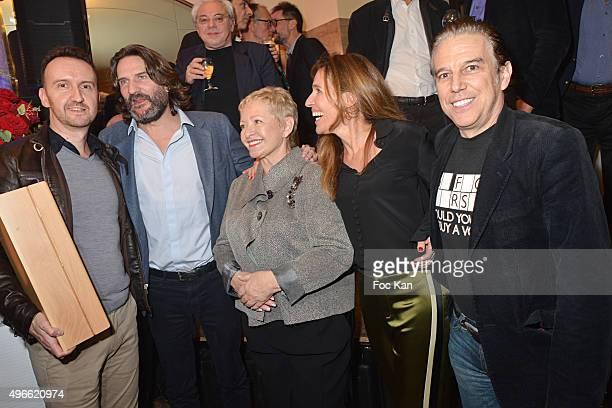 Prix de Flore 2015 winner Jean-Noel Orengo , Frederic Beigbeder, Colette Siljegovic owner of Cafe de Flore, her daughter Carole Chretiennot and...