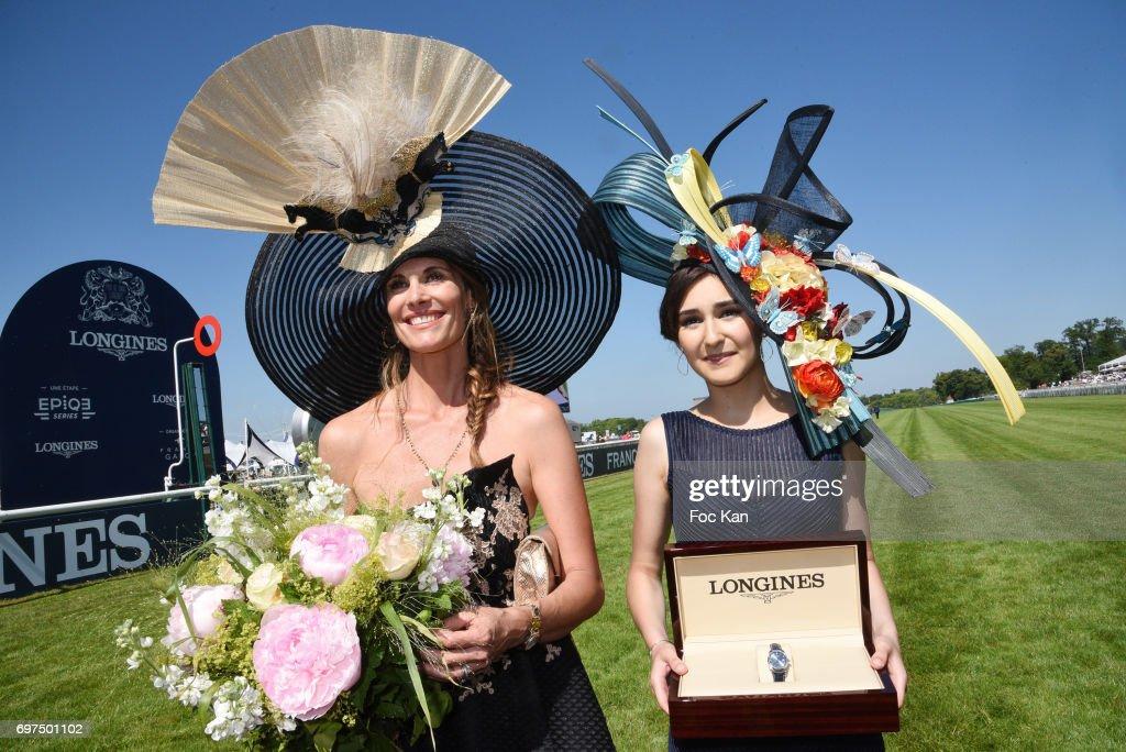 Prix de L Elegance Marie Sarah Ennceiri (R) and Sophie Thalmann attend the 'Prix de Diane Longines 2017' on June 18, 2017 at Chantilly, France.