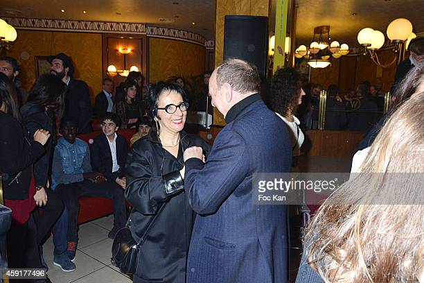 Prix Wepler President Marie Rose Guarnieri and a guest attend the 'Prix Wepler 2014' Litterary Awards Ceremony Cocktail at the Brasserie Wepler on...