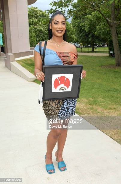Priya Ahluwalia attends a drinks reception celebrating her win of the 2021 BFC/GQ Designer Menswear Fund during London Fashion Week June 2021 at the...