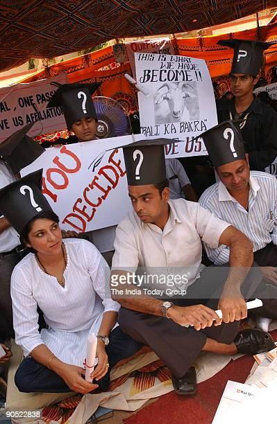 Priya Dutt Congress MP from Mumbai with Milind Deora Member of Parliament supporting demonstrating students of Rai University in Mumbai 27th April...