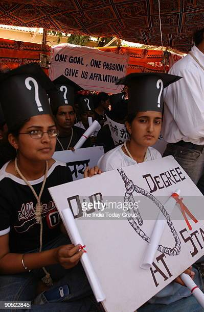 Priya Dutt, Congress MP from Mumbai with Milind Deora, Member of Parliament supporting the demonstrating students of Rai University in Mumbai 27th...