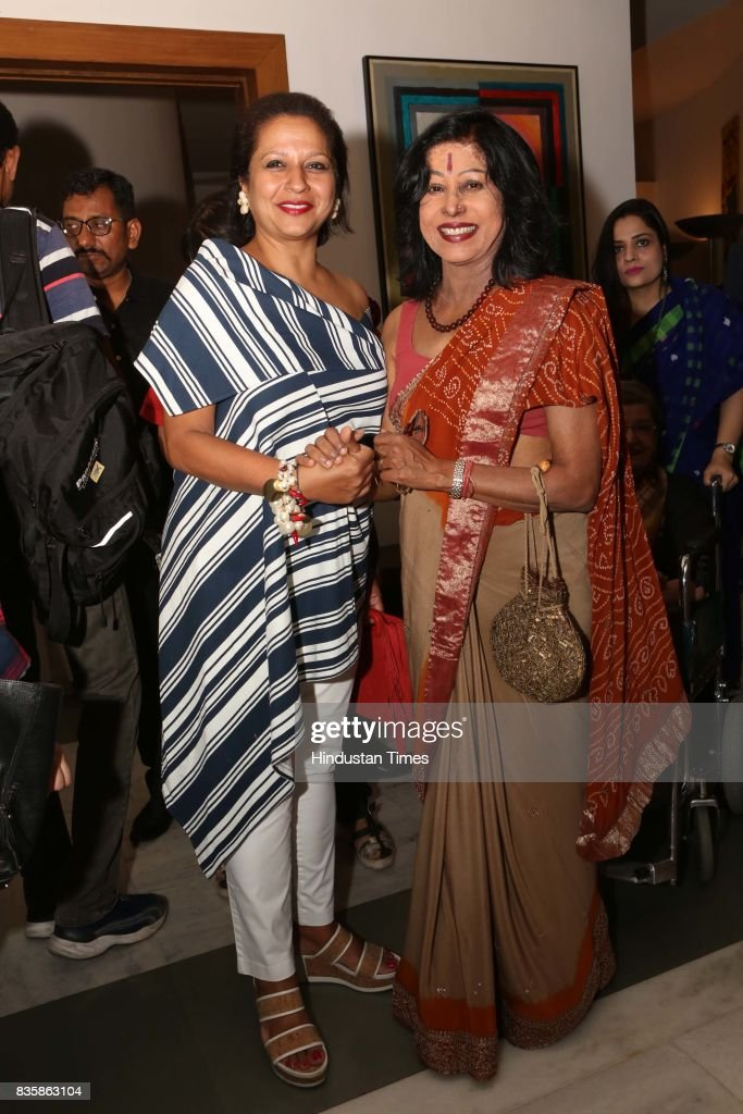 Priya Paul with Shovana Narayan during the launch of businesswoman Priti Paul's debut book, that aims at teaching alphabet in an Indian way, at French Embassy, on August 18, 2017 in New Delhi, India. The canvases, hand-painted by Bollywood artists, are part of the book. The launch was followed by a cultural dance performance.