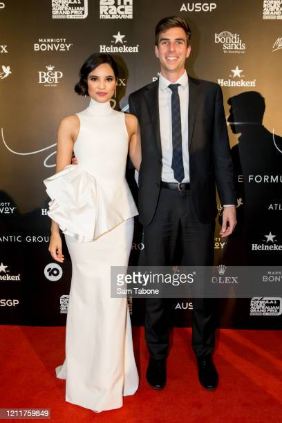 Priya Serrao and Andrew Cutler attends the Glamour On The Grid party on March 11 2020 in Melbourne Australia
