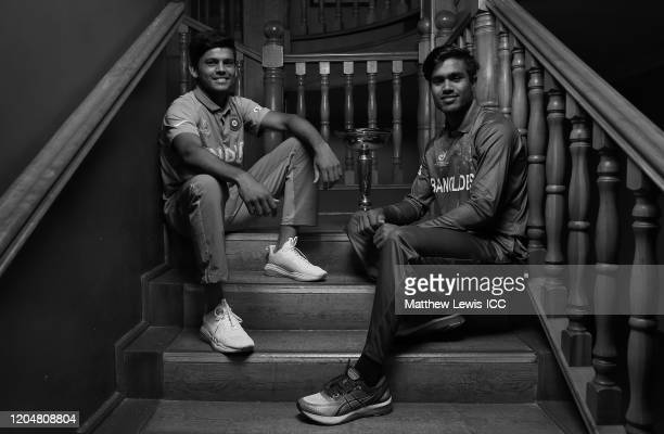Priyam Garg captain of India and Mohammad Akbar Ali captain of Bangladesh pictured during a Captains photocall ahead of the ICC U19 Cricket World Cup...