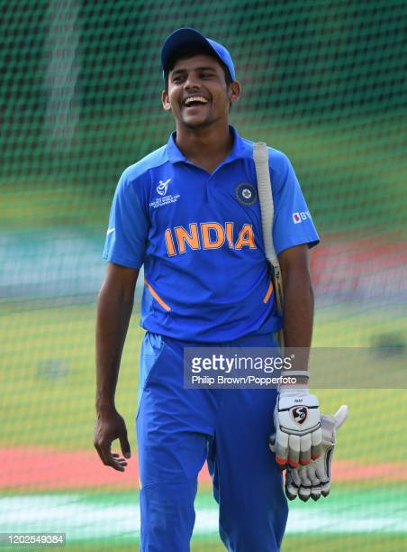 Priyam Garg of India smiles before the ICC U19 Cricket World Super League Cup Quarter Final 1 match between India and Australia at JB Marks Oval on...