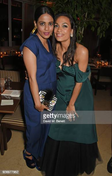 Priyanka Bose and Rosario Dawson attend the first annual gala hosted by MAISONDEMODECOM and Perrier Jouet to celebrate Sustainable Style by honoring...