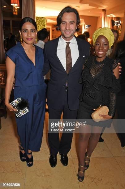 Priyanka Bose Jonathan Pattinson and Samata Pattinson attend the first annual gala hosted by MAISONDEMODECOM and Perrier Jouet to celebrate...
