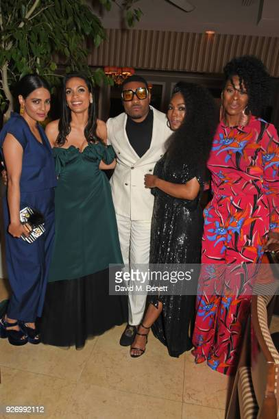 Priyanka Bose Rosario Dawson guest Angela Bassett and Jennifer Austin attend the first annual gala hosted by MAISONDEMODECOM and Perrier Jouet to...