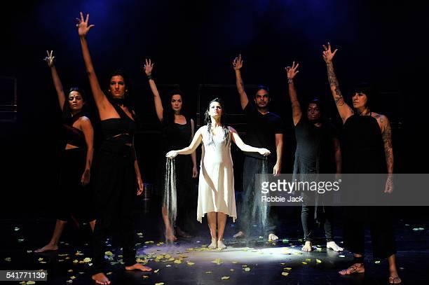 Priyanka Bose Rukhsar Kabir Poorna Jagannathan Ankur Vikal Sapna Bhavnani Sneha Jawale and Japjit Kaur in Nirbhaya directed by Yael Farber at...