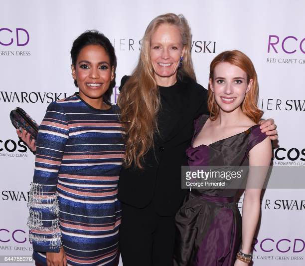 Priyanka Bose Suzy Amis Cameron and Emma Roberts attends Red Carpet Green Dress PreOscar Celebration at a private residence on February 23 2017 in...