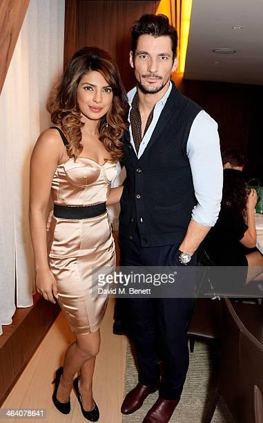 Priyanka Chopra and David Gandy attend the 'GUESS Loves Priyanka' VIP Dinner at the London Edition Hotel on January 20 2014 in London England