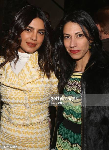 Priyanka Chopra and Huma Abedin attend the opening night of the play Burn This on Broadway at The Hudson Theatre on April 15 2019 in New York City