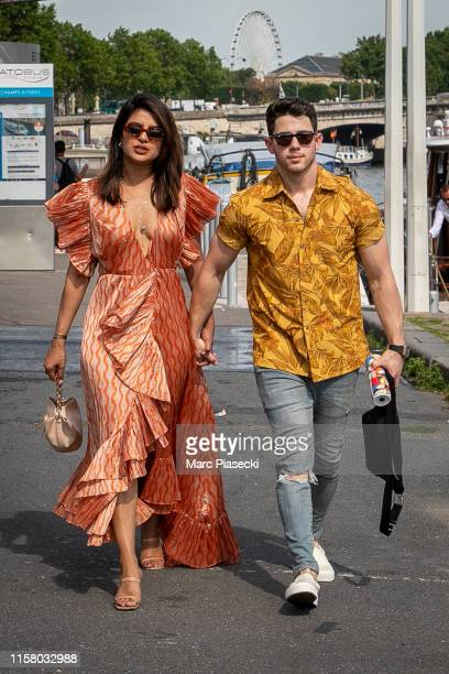 Priyanka Chopra and husband Nick Jonas are seen as they disembarked from the boat 'Shivas' after a cruise with Joe Jonas, Sophie Turner and Wilmer...