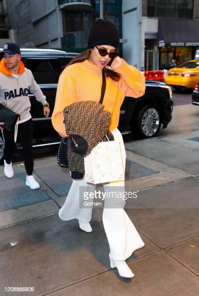 Priyanka Chopra and Nick Jonas are seen on February 26 2020 in New York City