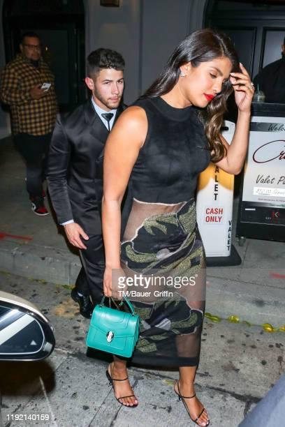 Priyanka Chopra and Nick Jonas are seen on January 06, 2020 in Los Angeles, California.