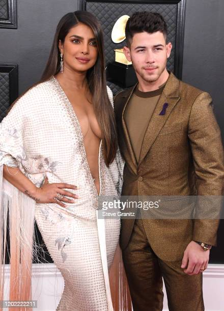 Priyanka Chopra and Nick Jonas arrives at the 62nd Annual GRAMMY Awards at Staples Center on January 26 2020 in Los Angeles California