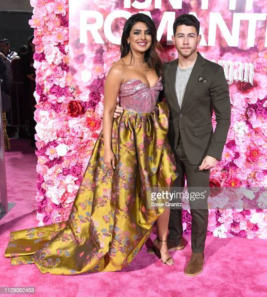 "Priyanka Chopra and Nick Jonas arrives at the Premiere Of Warner Bros. Pictures' ""Isn't It Romantic"" at The Theatre at Ace Hotel on February 11, 2019..."