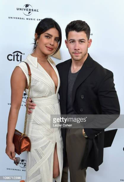 Priyanka Chopra and Nick Jonas attend Sir Lucian Grainge's 2019 Artist Showcase Presented by Citi at The Row on February 9 2019 in Los Angeles...