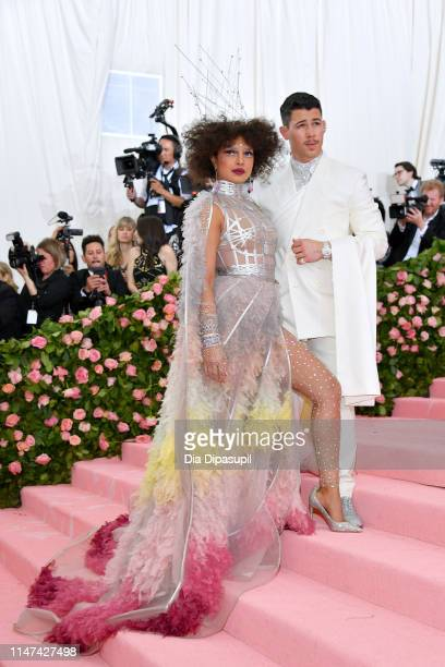 Priyanka Chopra and Nick Jonas attend The 2019 Met Gala Celebrating Camp Notes on Fashion at Metropolitan Museum of Art on May 06 2019 in New York...