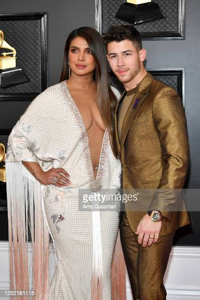 Priyanka Chopra and Nick Jonas attend the 62nd Annual GRAMMY Awards at Staples Center on January 26 2020 in Los Angeles California