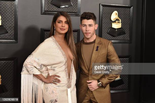 Priyanka Chopra and Nick Jonas attend the 62nd Annual Grammy Awards at Staples Center on January 26 2020 in Los Angeles CA