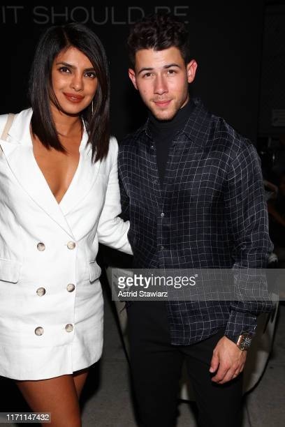 Priyanka Chopra and Nick Jonas attend the John Varvatos Villa One Tequila Launch Party at John Varvatos Bowery on August 29 2019 in New York City